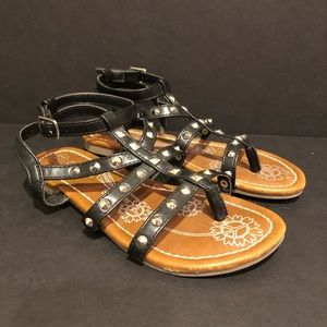 Cherokee black sandals girls 13